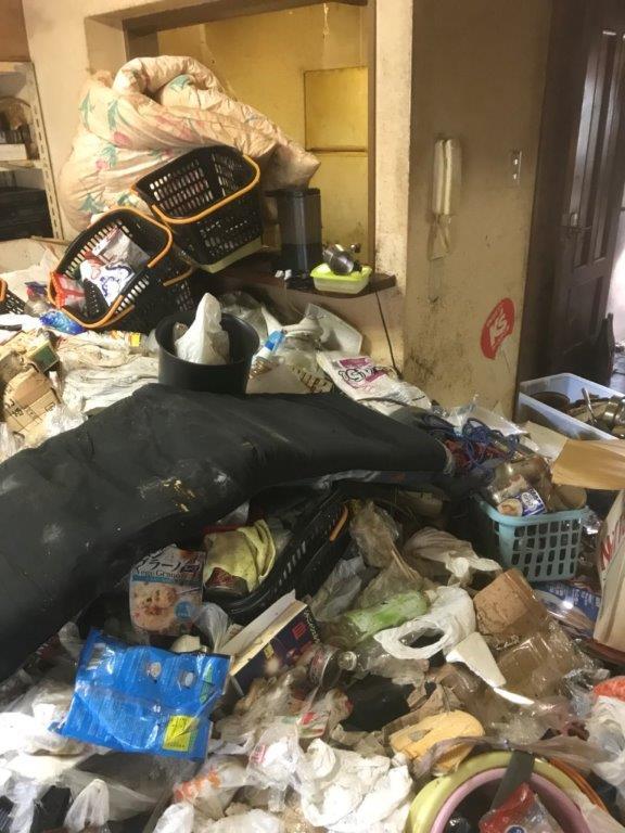 ゴミに埋もれた台所